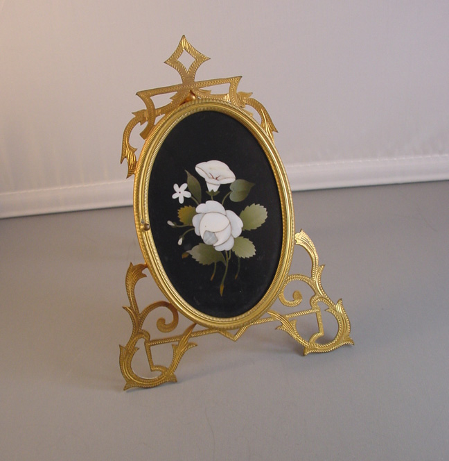 VICTORIAN Pietra Dura large picture frame with flowers
