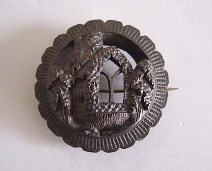 VICTORIAN bog oak round pierced brooch, Gothic castle window