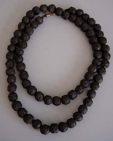 VICTORIAN bog oak rare and very old carved bead necklace, 36″