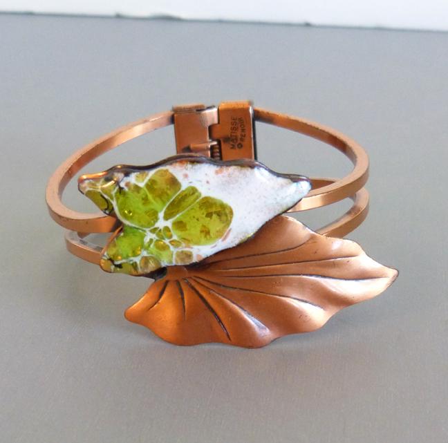 COPPER Matisse Renoir hinged bangle bracelet with green & white leaves