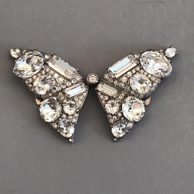 EISENBERG dazzlingly clear rhinestone butterfly double clip