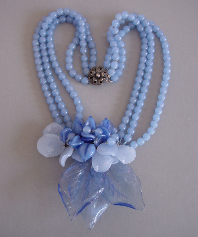 HASKELL Hess lush blue glass leaves, flowers and beads necklace