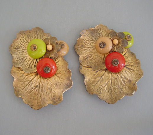HASKELL Hess dress clips with chartreuse & melon set of 2