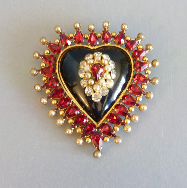 FASHIONCRAFT by Robert heart brooch of black glass, red and topaz