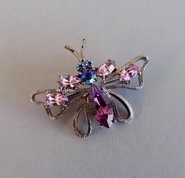 PURPLE insect pin with purple, pink & aurora borealis rhinestones