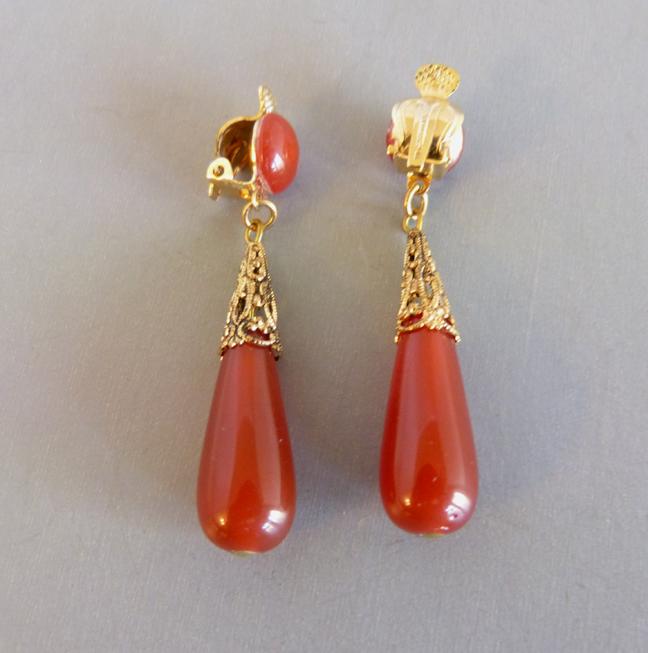 WEST GERMANY carnelian colored glass drop earrings