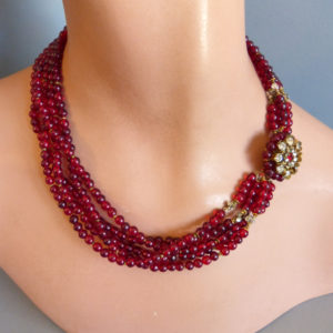 Miriam Haskell Red Glass Beads Clear Rhinestones Rose Montee Necklace
