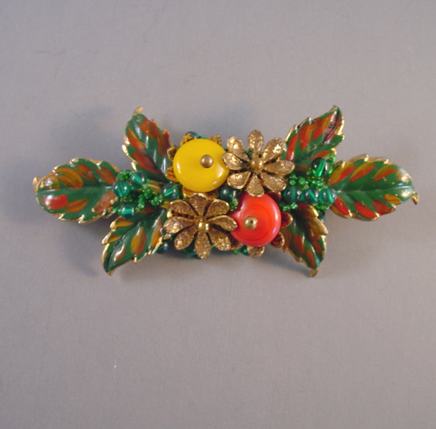 HASKELL Hess painted leaves and glass beads bar brooch circa 1935