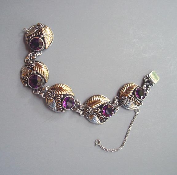HOBE sterling bracelet with purple unfoiled rhinestones