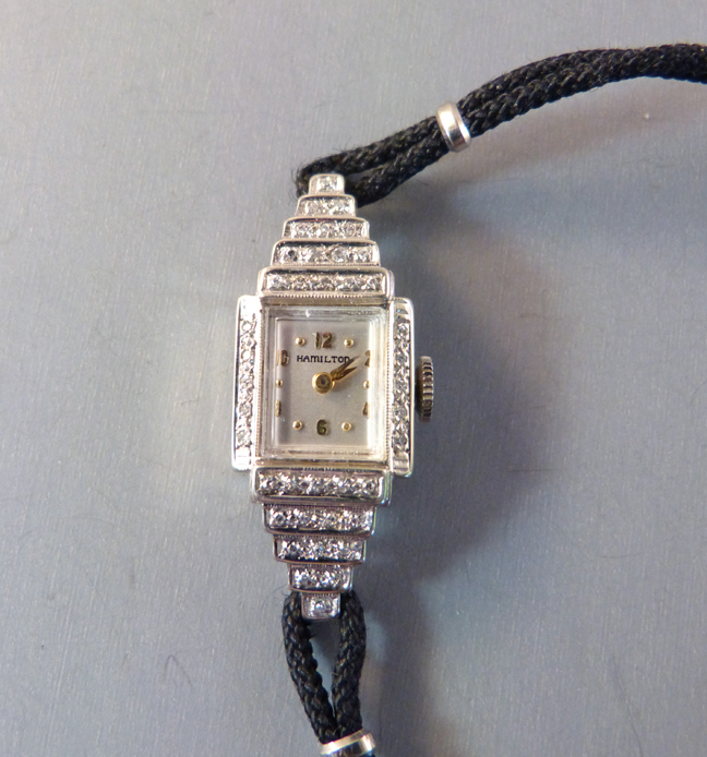 HAMILTON Deco diamonds and 14k white gold 1930's wrist watch