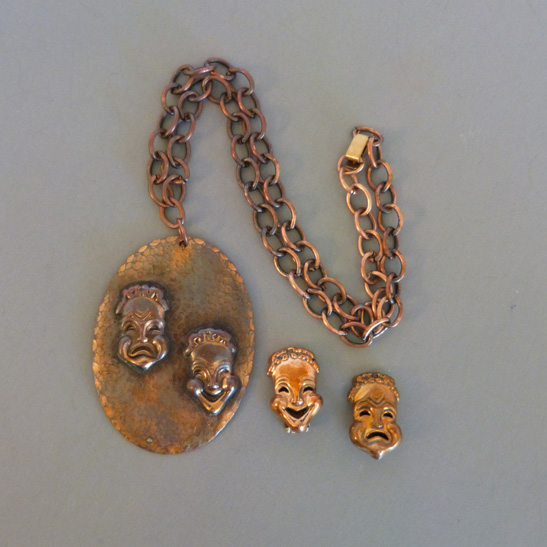 """COPPER """"Curtain Call"""" Comedy and Tragedy pendant and earrings"""