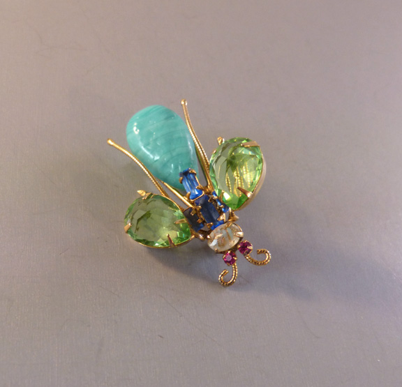 SCHREINER unsigned insect brooch with an swirled aqua glass body
