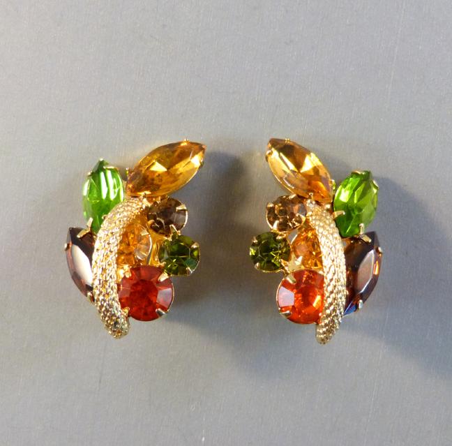 JULIANA D&E style earrings with green, brown orange rhinestones