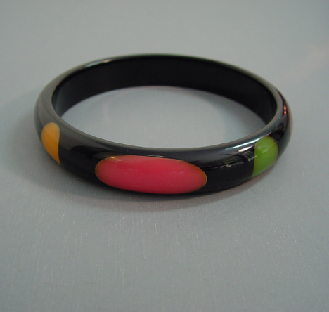 SHULTZ bakelite black spacer bangle with multi-colored dots