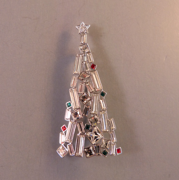 SWAROVSKI Christmas tree brooch with clear baguettes, boxes
