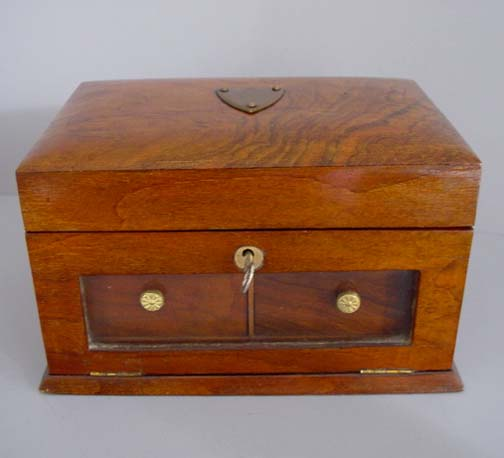 ENGLISH Wooden Jewelry Box With Green Tufted Satin Fitted Interior Glass Front Drop Which Opens To Two Small Drawers Lock Key Circa 1920