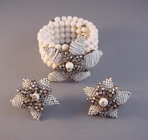 JONNE white glass beads & seed beads coil bracelet & earrings