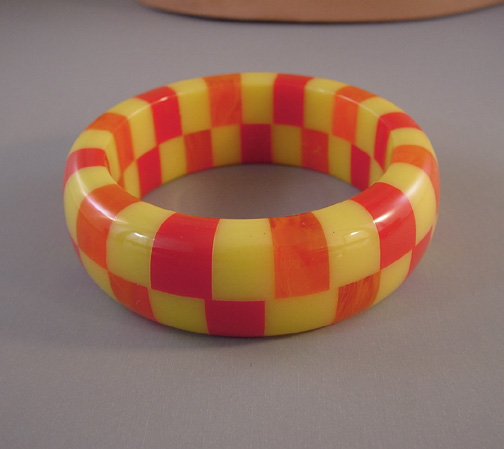 SHULTZ bakelite two row bangle in red, citrus yellow and orange