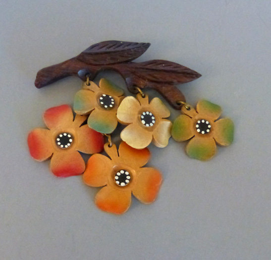 COLORFUL wood brooch with aqua, green, red flowers on branch