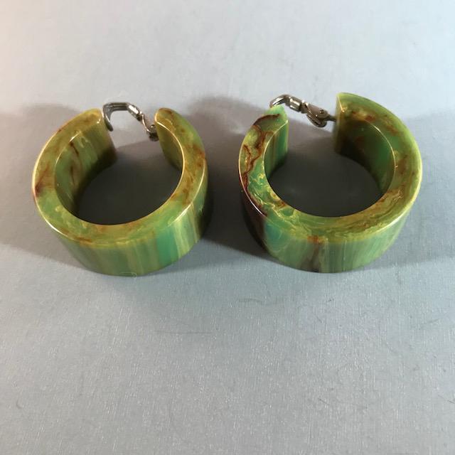 BAKELITE hoop earrings in an aqua-green with brown marbling