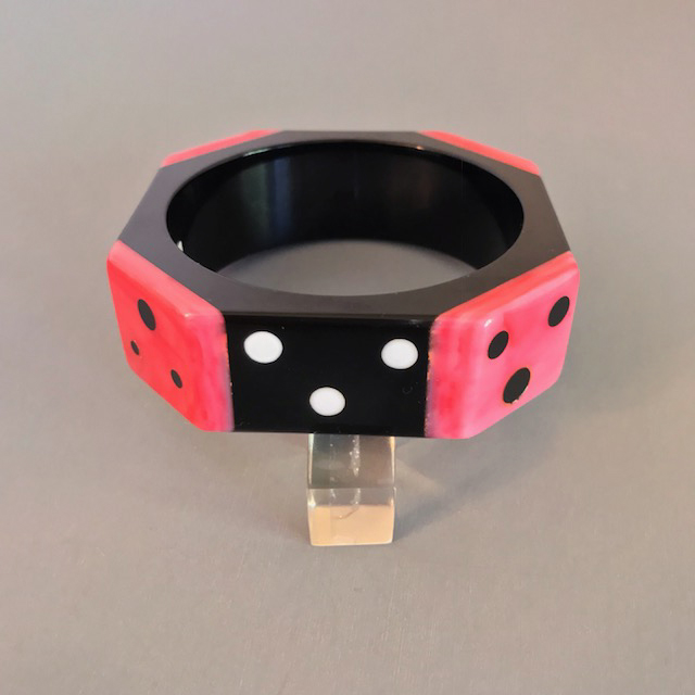 SHULTZ bakelite black octagonal dots domino bangle with pink