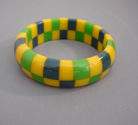 SHULTZ bakelite two row check bangle yellow, blue and green checks
