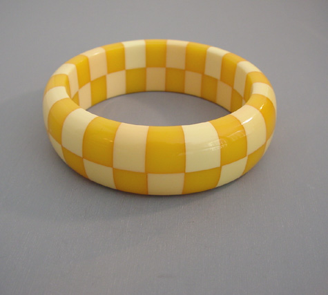 SHULTZ bakelite two row cream and yellow bangle