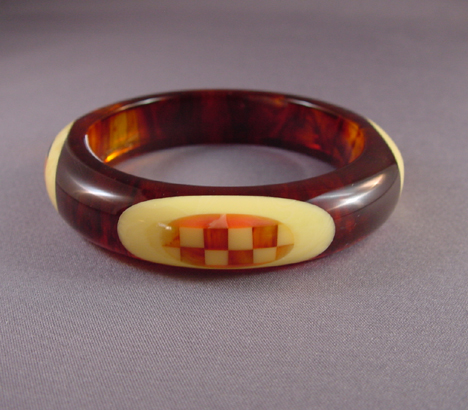 SHULTZ bakelite marbled root beer, caramel and cream dots bangle