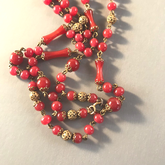 MONET Deco era carnelian colored glass beads necklace