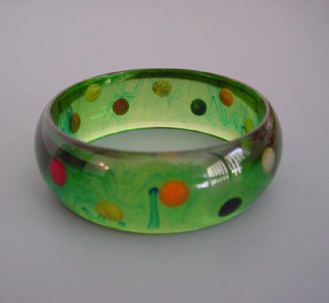 SHULTZ bakelite green transparent bangle peacock swirls, dots