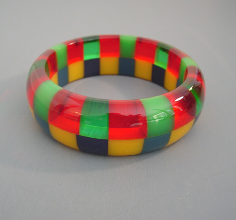 SHULTZ bakelite two row bangle transparent & opaque colors
