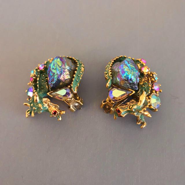 HAR dramatic green dragon figural earrings, lava stones