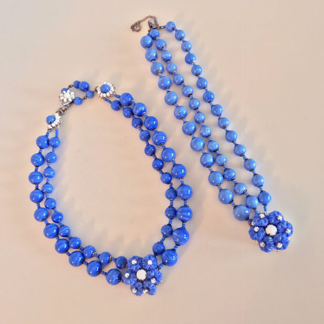 MIRIAM HASKELL by Bob Clarke medium blue necklace and bracelet