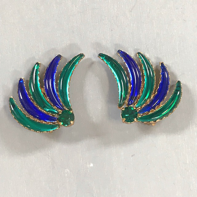 GERMAN iridescent blue and green gem tone crescent-shaped elements earrings
