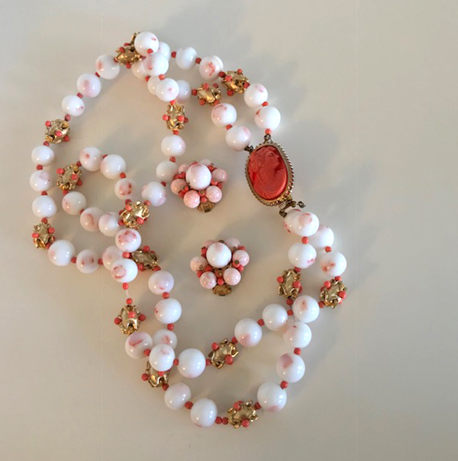 HATTIE CARNEGIE cameo necklace and earrings set with imitation coral