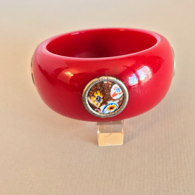BAKELITE rich red really chunky bangle 4 millefiori dots, as is