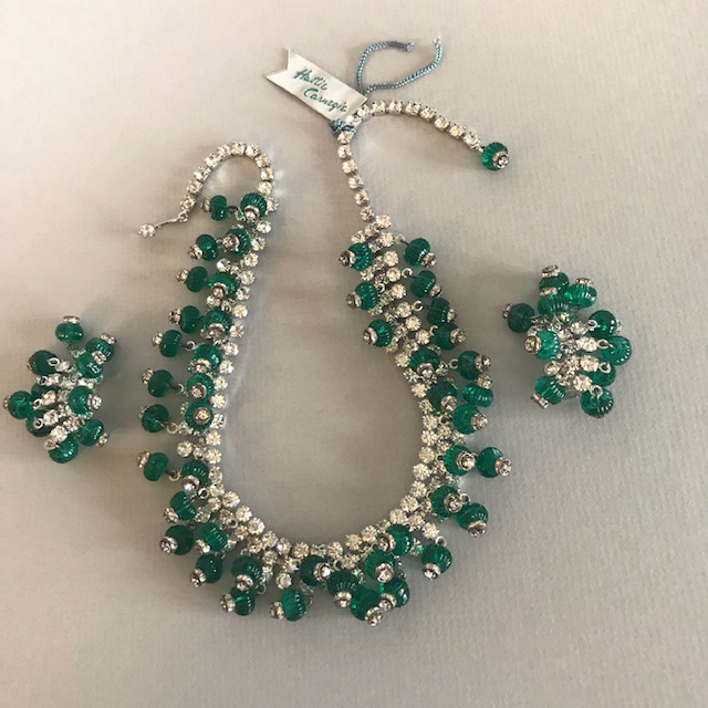 HATTIE CARNEGIE green glass melon shaped beads, clear rhinestones necklace and clip back earrings