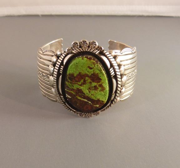 NAVAJO Edison Gruber sterling silver and Gaspeite bracelet