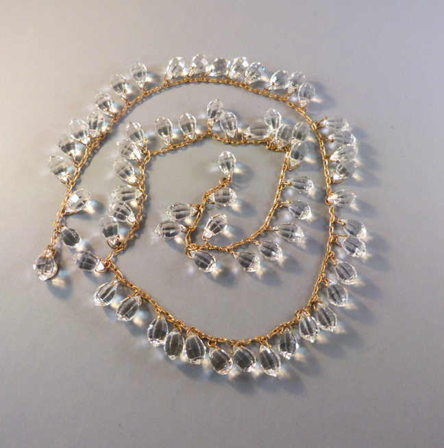 DECO faceted glass teardrops necklace, 28″ of sparkle