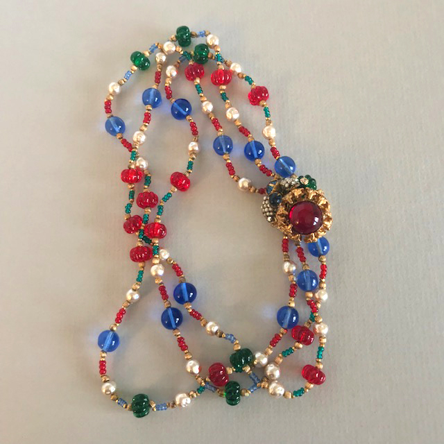 MIRIAM HASKELL by Frank Hess red, blue and green necklace with melon-shaped and round beads