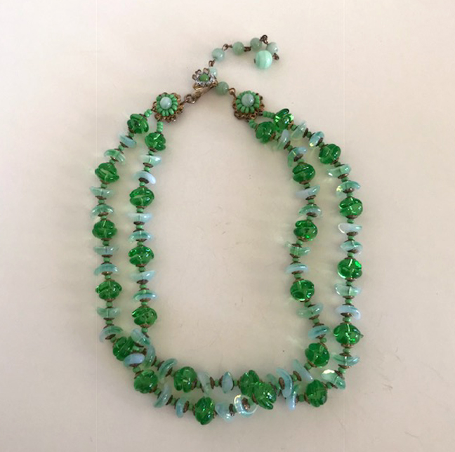 MIRIAM HASKELL pastel and medium green glass beads two strand necklace