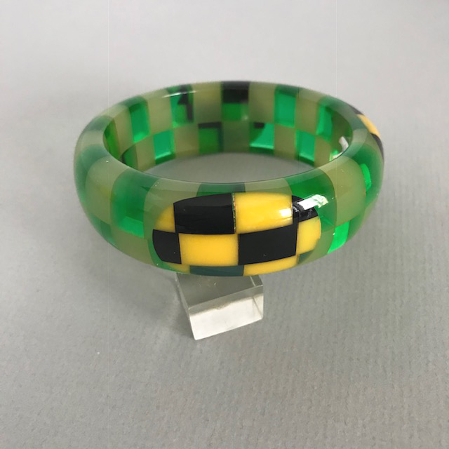 SHULTZ bakelite bangle in cloud and transparent green two row checks with dots