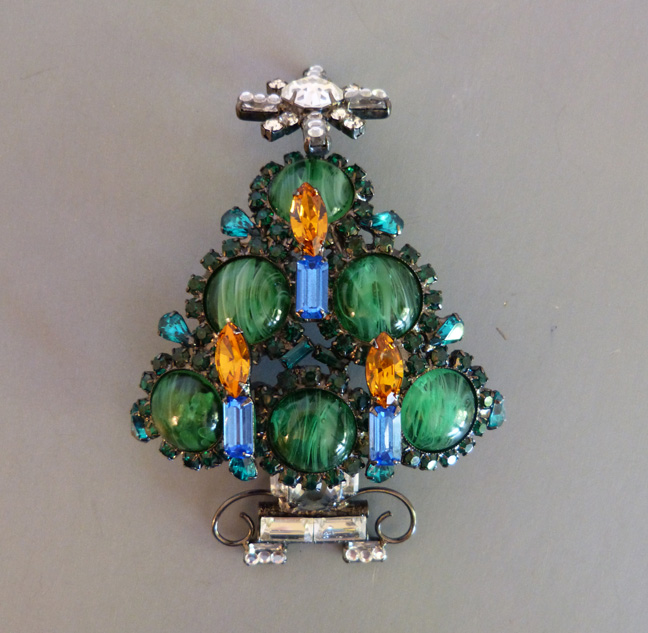 LAWRENCE VRBA Christmas tree brooch with green, blue, topaz yellow