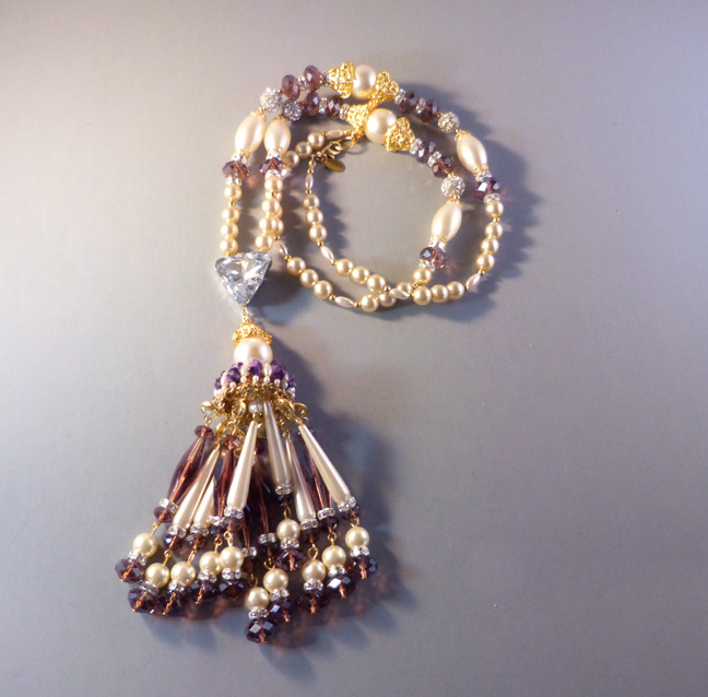 LAWRENCE VRBA long tassel necklace with purple glass beads, glass pearls