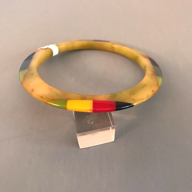 SHULTZ swamp marbled spacer bangle, colorful striped dots four places