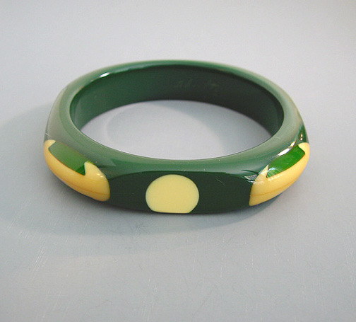 SHULTZ bakelite deep green octagonal bangle with cream and green dovetail dots