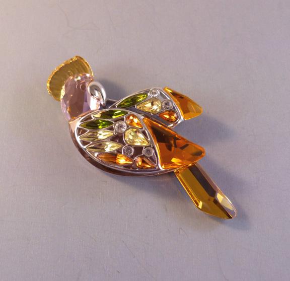 SWAROVSKI Daniel Baimuru crystal & sterling brooch, box & pouch