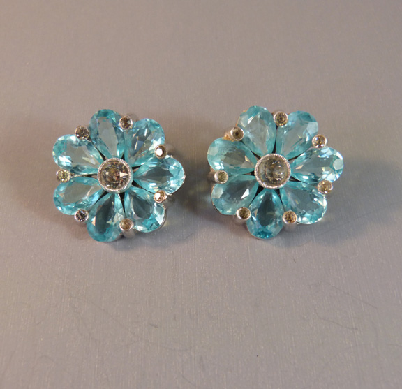 DUJAY or DeRosa unsigned blue unfoiled rhinestone earrings