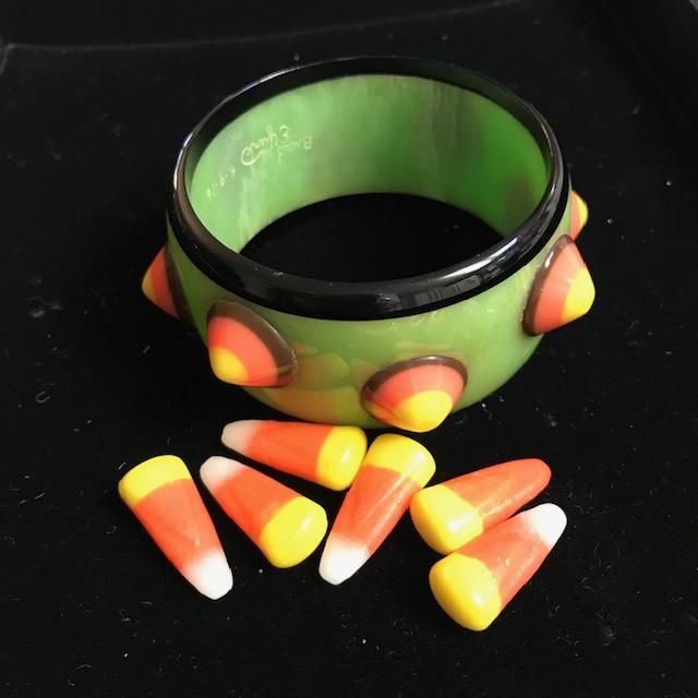 BRAD ELFRINK of Elvenkrafte Studio bakelite bangle with candy corn dots
