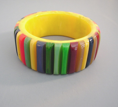 SHULTZ bakelite butterscotch marbled bangle, multi-colored ribs in a rainbow of colors